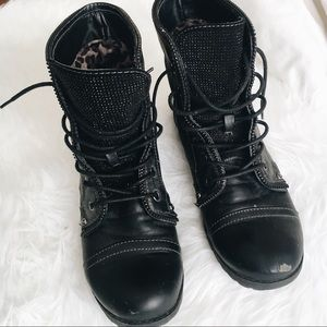 G by Guess Belva Black Combat Boots Size 10